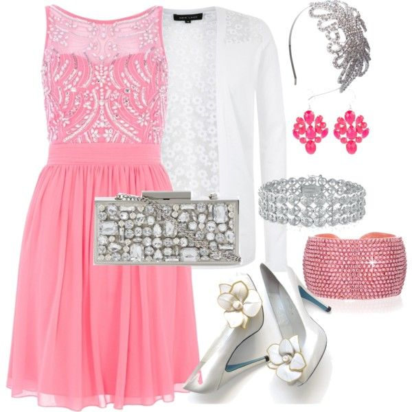 """Pink Chiffon Sequin Embellished Dress with silver and white accessories"" by amooshadow on Polyvore"