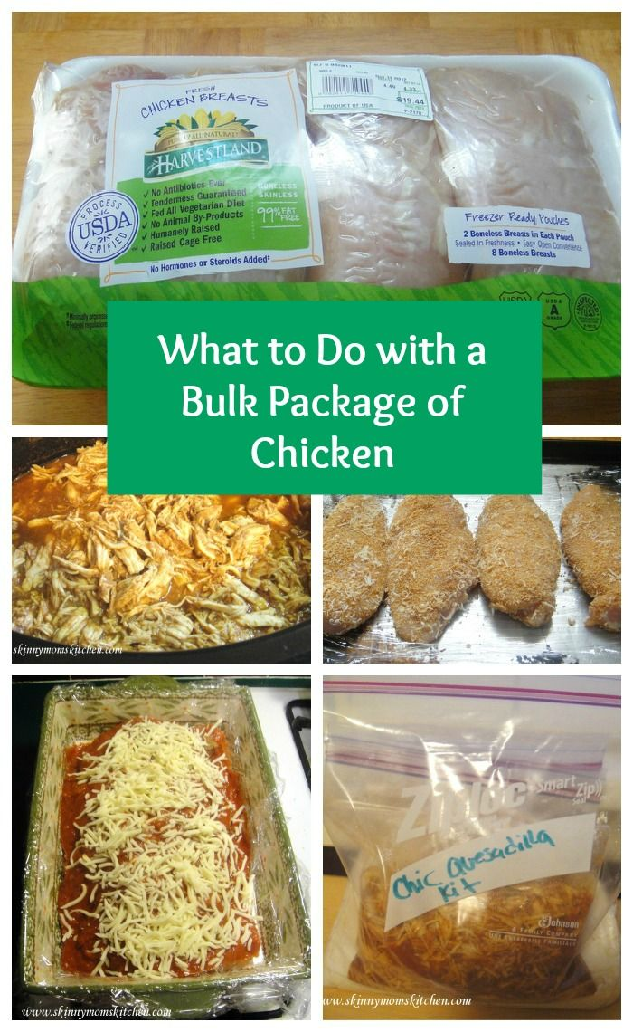 What to do with a bulk package of chicken. Lots of ideas for prepping chicken ahead of time for easy future meals.