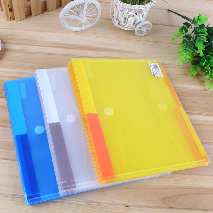 1 Pack 12 Pcs Transparent Plastic Folder Magic Button Document Bag A4 File Cover Business And School Filing Products Deli 5504