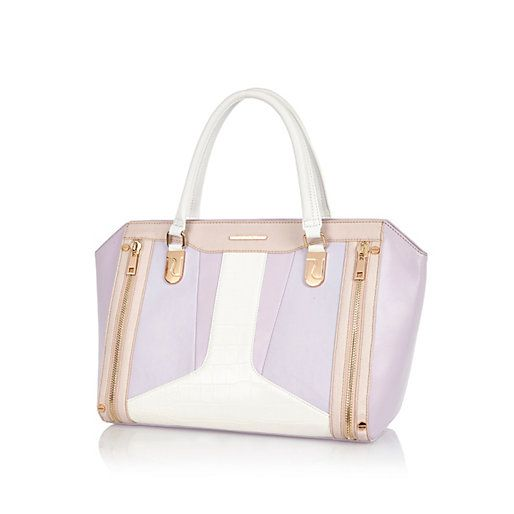 Light purple colour block structured tote bag #riverisland #limitededition