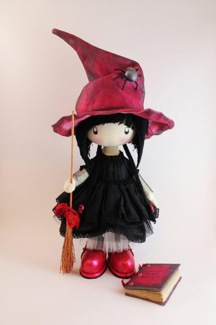 Doll little witch Kiki  halloween witch halloween  doll  witch home decor cloth witch witch's broom hat (110.00 USD) by DollsLittleAngels