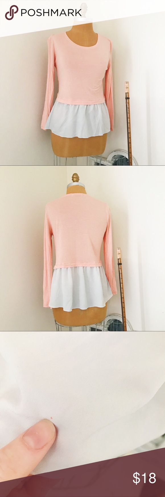 Hinge pink and white peplum top Hinge for Nordstrom. Perfect for transitiong into spring!  This silky soft two-tone peplum top has a pen tip sized red dot on the peplum portion (see picture), but other than that it is in amazing condition.  Smoke free/pet free house. Nordstrom Tops Tees - Long Sleeve