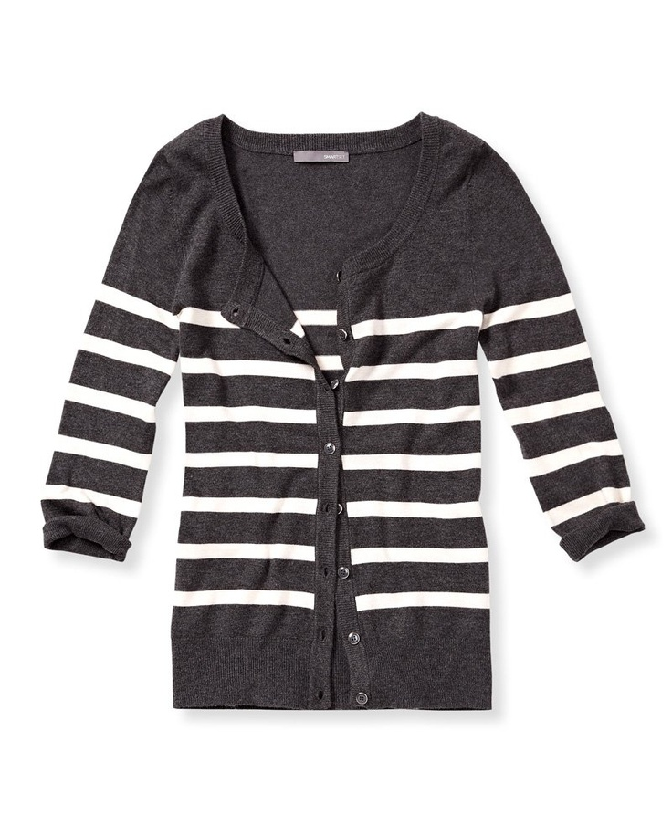 SMART SET - Collection - STRIPED SCOOP NECK CARDIGAN