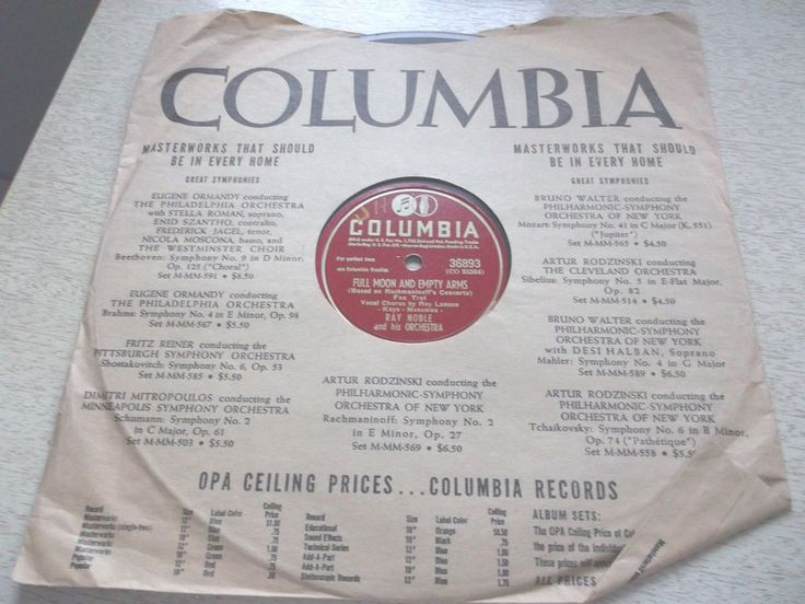 Ray Noble Full Moon Empty Arms 78 RPM Columbia Record It Might As Well Be Spring #Columbia #EasyListening