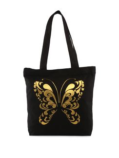 Buy Vogue Tree Gold foil butterfly tote Online, , LimeRoad