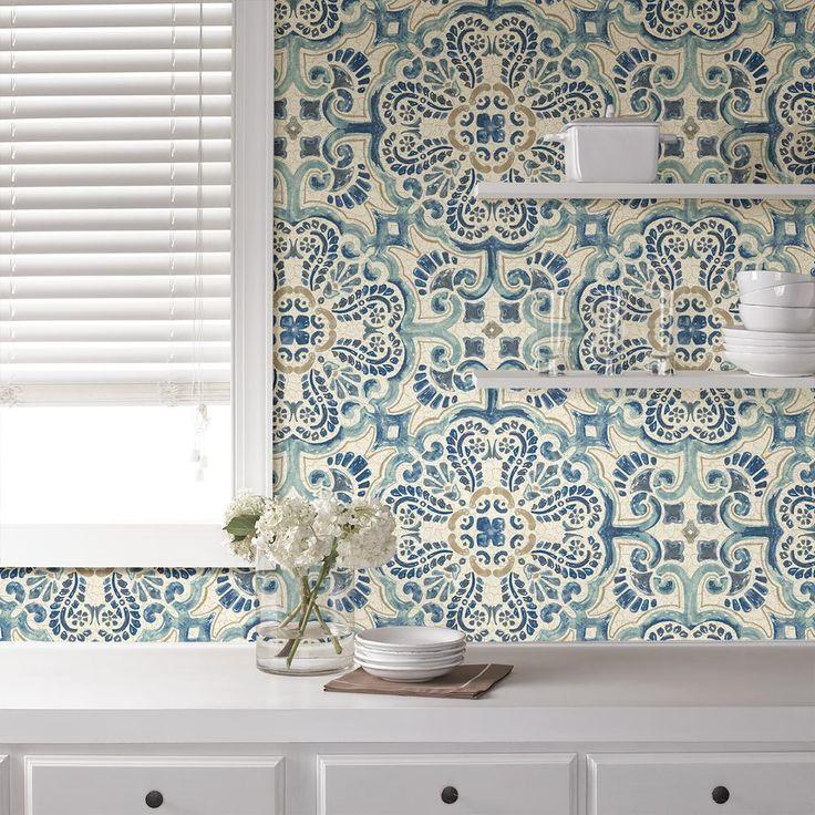 NuWallpaper 30.8 sq. ft. Blue Florentine Tile Peel and