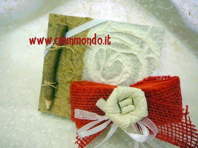 Quaderno con matita portaconfetti a fiocco con Fiore Dung Paper