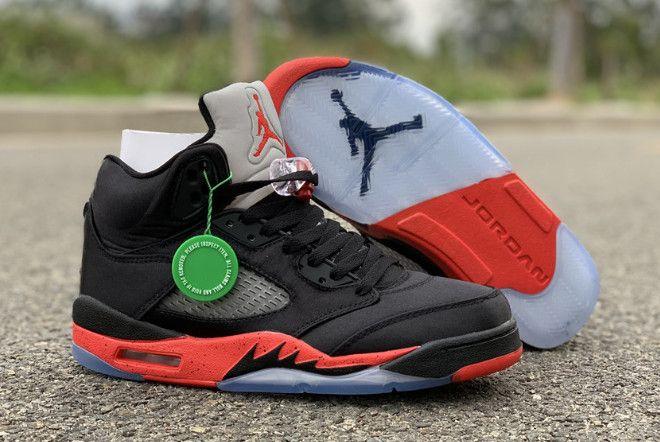 "detailed look 381bc 8e9dc 2019 Air Jordan 5 Retro ""Satin Bred"" Black University Red 136027-006"