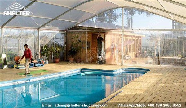 Shelter swimming pool shed made in transparent PVC fabric ...