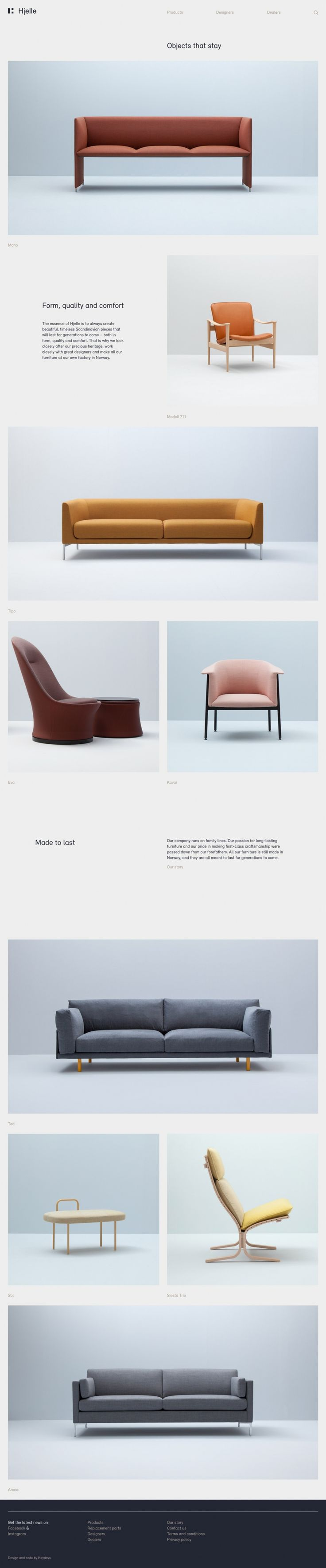 Hjelle creates beautiful design interior furniture seats in minimal danish scandinavian style. The new website is made by webdesign agency Heydays.