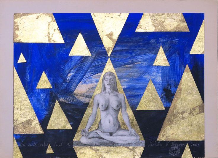 Nud, yoga,lotus. Gravura pointe seche, acrilic, schlagmetal