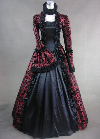 Victorian Gothic Gown.      Love the red & black
