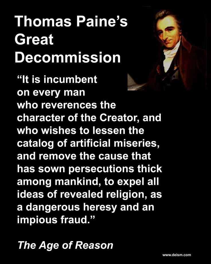 Thomas Paine Deism Great Decommission