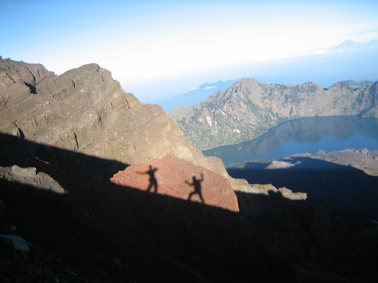 Silhouette over Segara Anak lake, Mount Rinjani