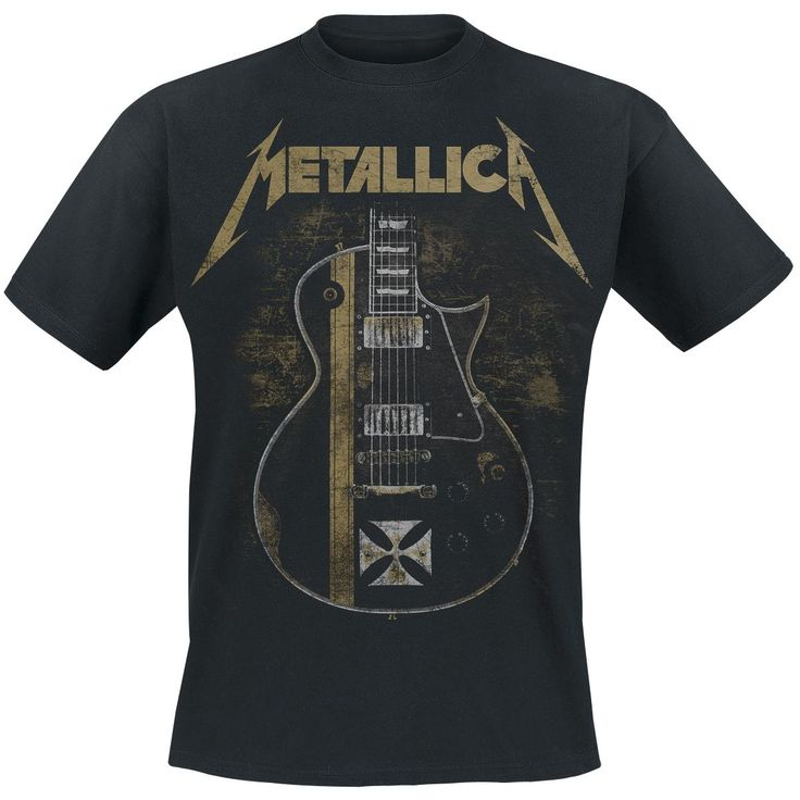 It's a black shirt, and the chest has the Metallica logo and a guitar down, metallica logo is brown and the guitar is black, the cost is £55.55.
