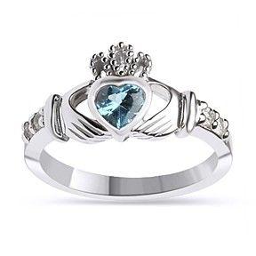 December Birthstone Blue Topaz 925 Sterling Silver Claddagh Ring by JewelryHub on Opensky
