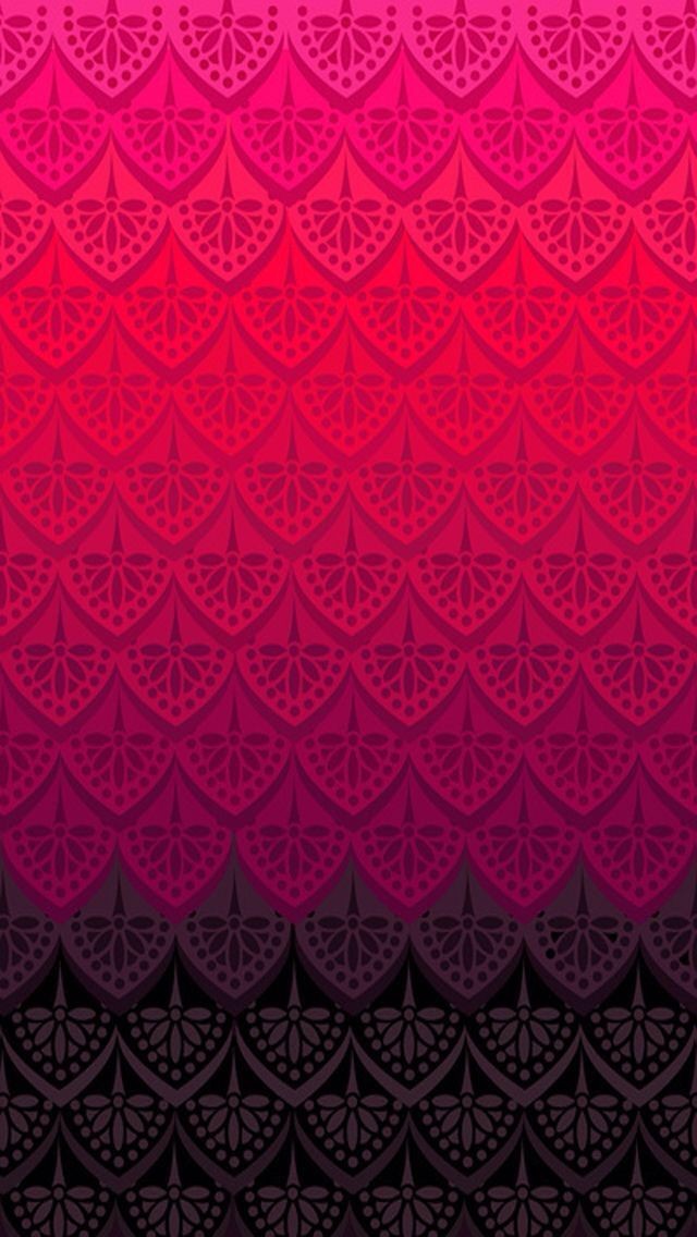 IPhone wallpaper background design red pink to black lace pattern