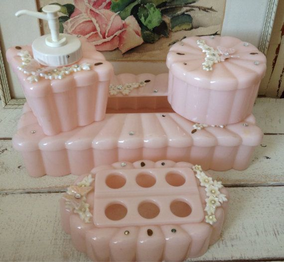 Pretty Pink Celluloid amp Rhinestone Vanity Dresser By Sewbeautiful2 for The Love Of