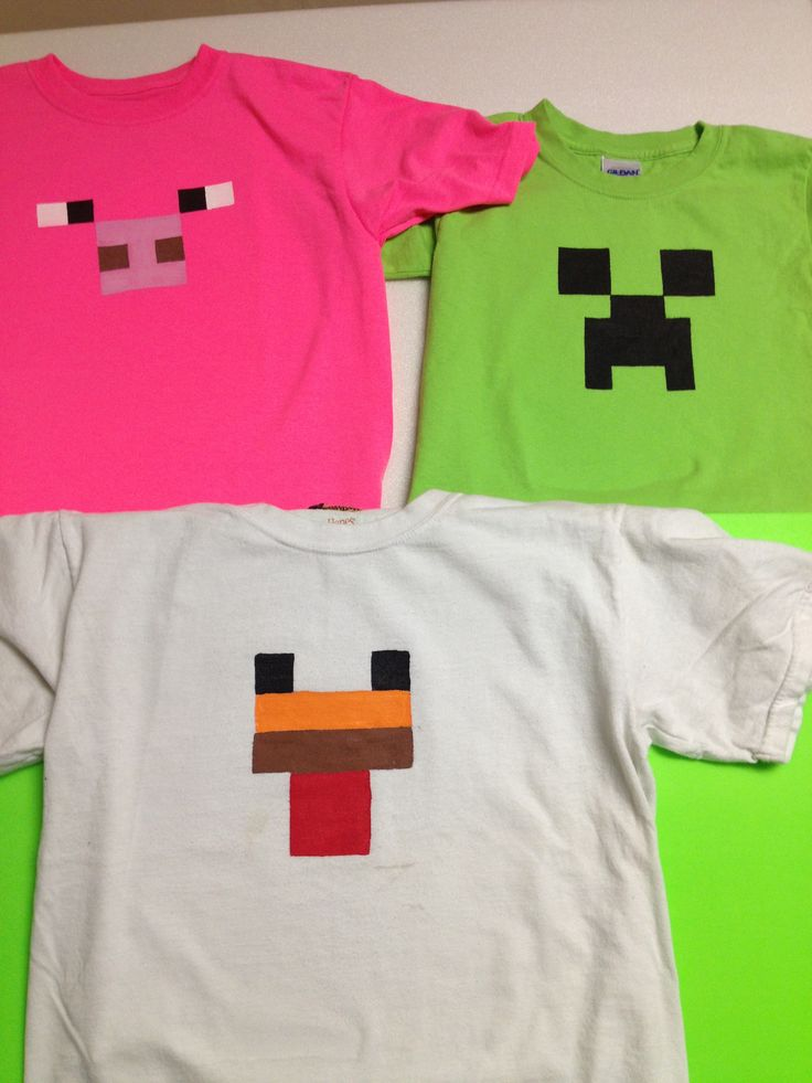 Freezer paper t-shirts for Alec's Minecraft Party