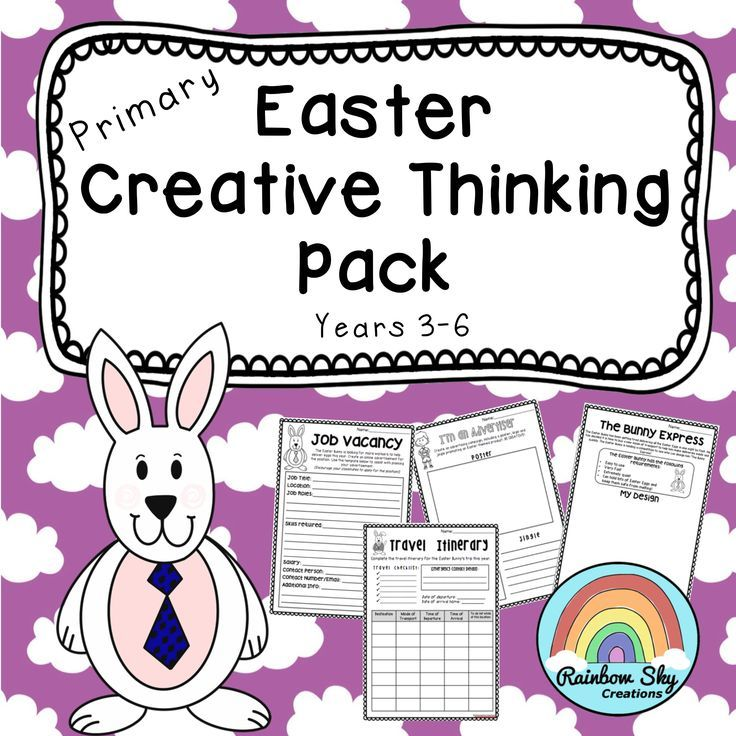 Easter Creative Thinking Pack for Years 3, 4, 5, 6. Includes 13 innovative tasks that will get your students thinking imaginatively and creatively leading up to Easter. ~ Rainbow Sky Creations ~