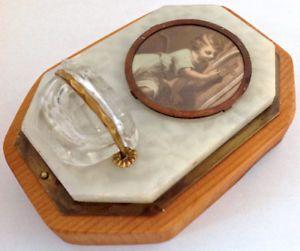 Antiquité Collection Art religieux Bénitier. Bois-marbre-verre