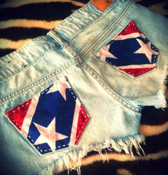 Rebel Flag Upcycled American Eagle Patriotic Shorts on Etsy, $35.00