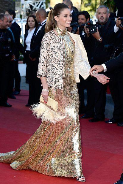 Fashion-Looks: Beim Filmfestival in Cannes strahlt Model und Socialite Olivia Palermo auf dem roten Teppich wie eine der Filmgöttinen im Paillettenkleid. Sie trägt dazu raffinierte Heels der Frühjahr/Sommerkollektion 2013 von Sergio Rossi.