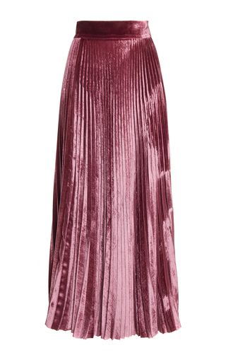 Rendered in velvet, this **Luisa Beccaria** skirt features a high waist, all over pleating, and a flared midlength silhouette.