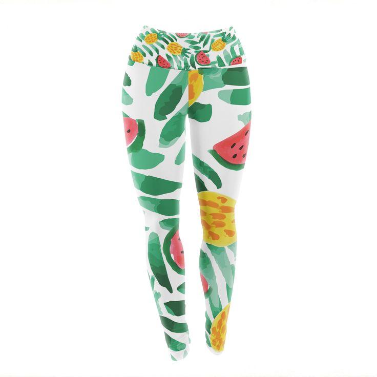 "Yenty Jap ""Tropical Fruit Haven"" Green Red Watercolor Yoga Leggings from KESS InHouse"