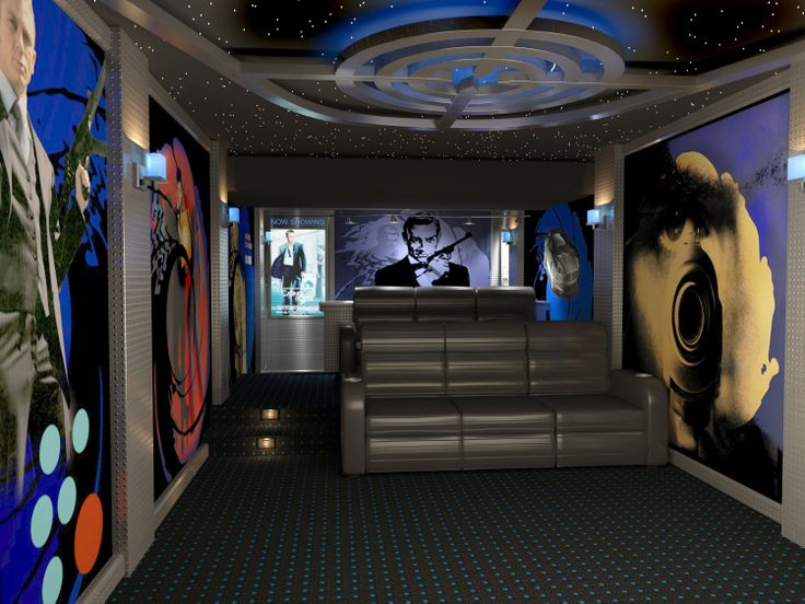 Home Theater Featuring James Bond Themed Prints On Acoustic Panels.