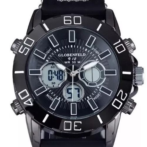 Globenfeld V12 Black, Functions: 12/24 time format, day, date and month features, alarm with chime, stop watch, back light.