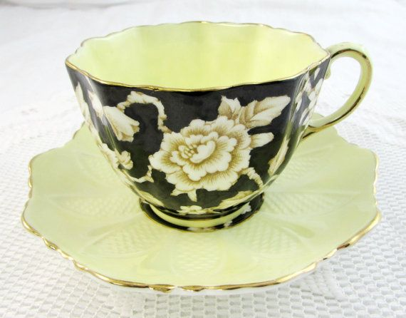 Paragon Art Deco Black and Yellow Tea Cup and Saucer with Double Royal Warrant, Bone China, Antique Tea Cup and Saucer