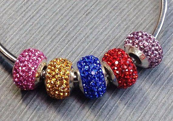 925 Sterling silver Swarovski crystal beads by Emmalishop on Etsy