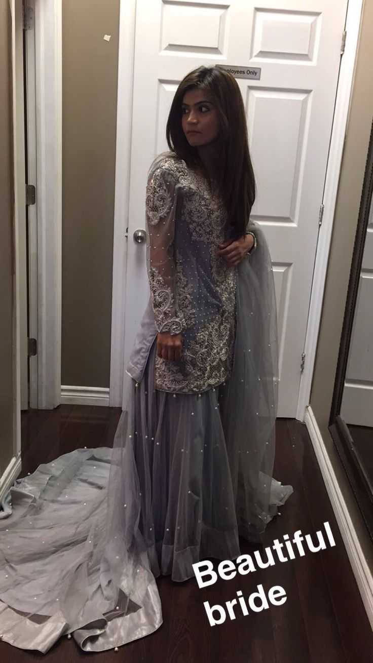 Beautiful bride trying her pre wedding shoot dress ❤️ She glows like a star in this intricately embellished dress #happycustomers #happybrides #heartland #desiweddings #desibrides #dulhan