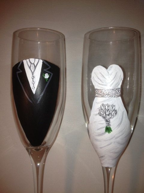 wedding toasting glasses bride and groom hand painted customized dress and tuxedo