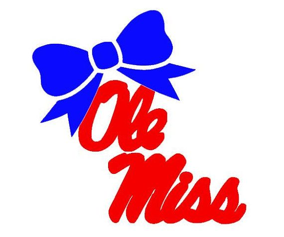 "Ole Miss with Bow Decal for Laptop, Tablet, Notebook, Car - Choose 3"", 4"", 5"" or 6"" - Choose Ole Miss Color & Bow Color"
