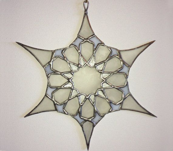 """Stained Glass Suncatcher -""""Exotic Snowflake"""" by Smash Glassworks [SOLD]"""