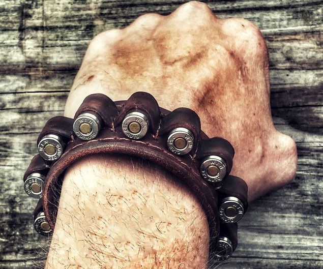 Leather Ammo Bandolier Bracelet -- Keep your ammunition handy at all point by distribute authority within this skin materiel bandolier bracelet. It's handcrafted from large trait skin and features specialized cell so you can quickly house and hoist up to 10 ammunition.