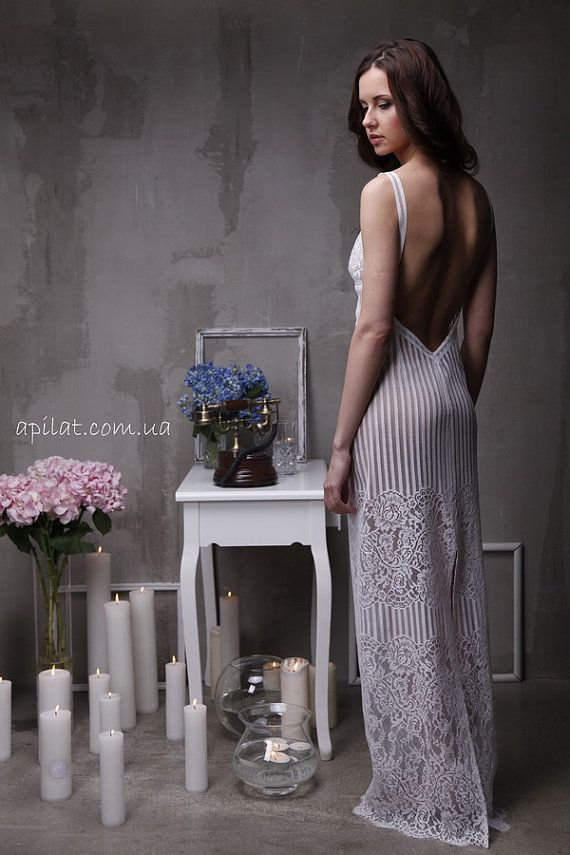 Long Lace Bridal Nightgown With Open Back F4(Lingerie, Nightdress), Bridal Lingerie, Wedding Lingerie, Honeymoon, Sleepwear