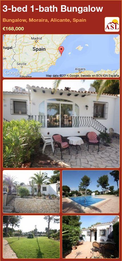 3-bed 1-bath Bungalow in Bungalow, Moraira, Alicante, Spain ►€168,000 #PropertyForSaleInSpain