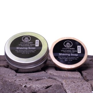 Natural, Men's Shaving Soap with Tamanu Oil and Virgin Coconut Oil and ALUMINIUM SHAVING TIN. Scented with Volcanic Man Essential Oils. This coconut oil soap, boosted with the incredible skin healing Tamanu Oil, is perfect for sensitive skin, acne, face eczema, dermatitis and psoriasis on the face and for any man prone to skin rashes and razor burn.