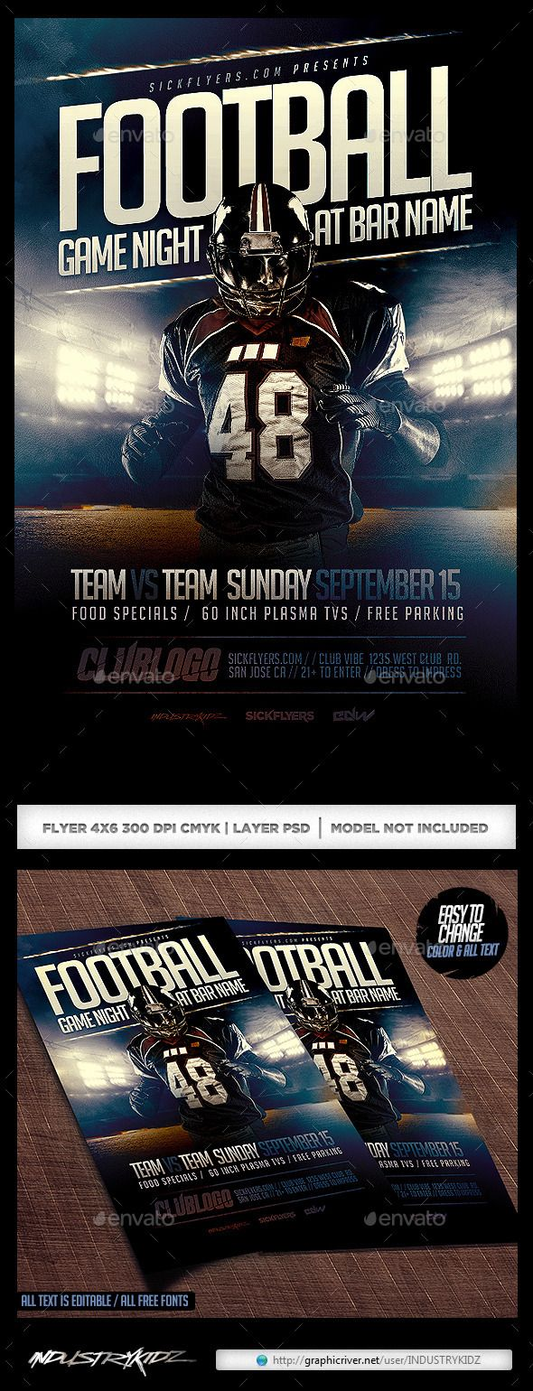 football game night flyer template psd