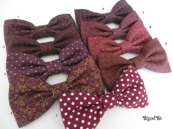 Plum/wine wedding bow ties. Perfect vineyard wedding bow ties. Choose your favorites from this plum/wine collection. Add a few blush from our