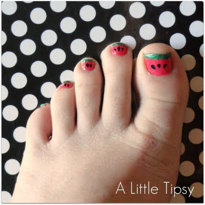 Sew Dang Cute Crafts: July Jamboree Guest Post: Watermelon Toenails by Michelle of A Little Tipsy