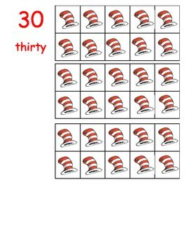 This lesson contains ten frame numbers 0-50.  INSTANT  STATION! Great for Read Across America Week or celebrate the great Doctor's birthday.I prefer teaching the numbers to fifty (even though kindergarten lesson plans usually only go to 20) because learning the lower numbers teaches them the pattern of words and numbers from 51 to 99.