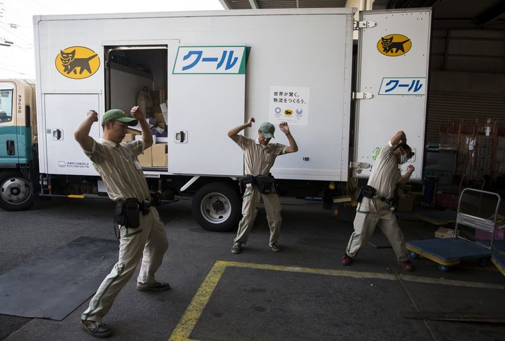 Japanese Delivery Workers Stretching