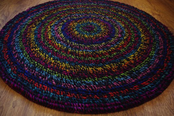 Crochet round rug 42'' 106 cm/Shaggy Rug/Crochet by AnuszkaDesign, $140.00