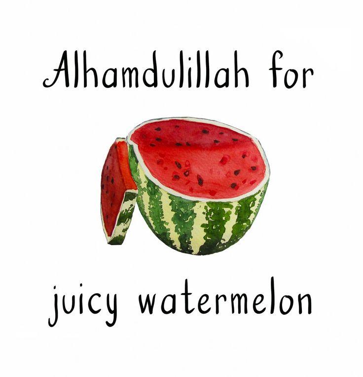 freebie (watercolor juicy watermelon) of #AlhamdulillahForSeries on healthy muslimah