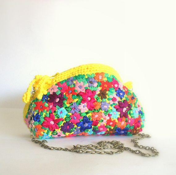 Bolso amarillo crochet y bordado Maria Bonita, Bolsos y carteras, Bolsos, Fechas señaladas, Día de la madre