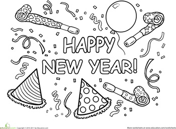 Worksheets: Happy New Year Coloring Page